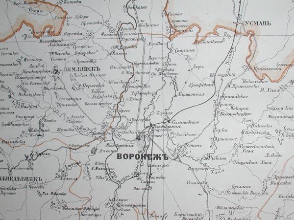 Карта воронежской губернии 1876 года :: mapmarket - картогра.